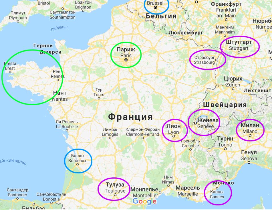 Карта Бретани и Франции с ближайшими крупными аэропортами