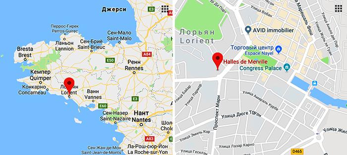 Рынок Лорьяна на карте