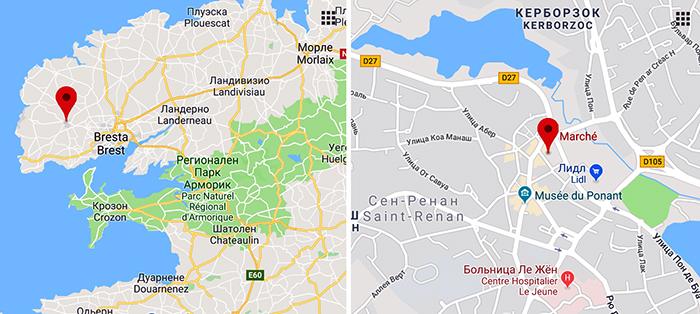 рынок Сен-Ренана на карте