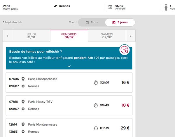Пример билетов на поезд Париж-Ренн на портале Ouigo
