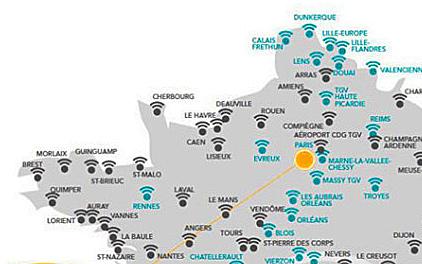 Карта Бретани с вокзалами, где есть свободный (бесплатный) вайфай