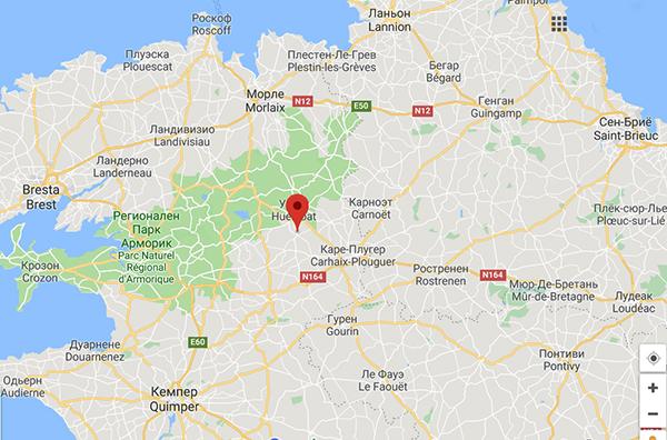 расположение дома для продажи на карте Бретани